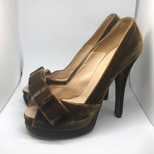 Fendi velvet heels - chocolate brown, bows